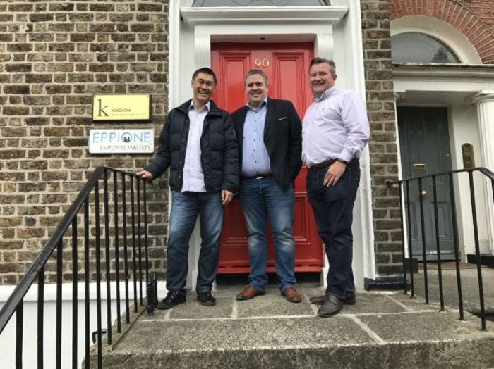 LR Ernest Legrand, David Kindlon and Neil Fallon outside their Dublin office