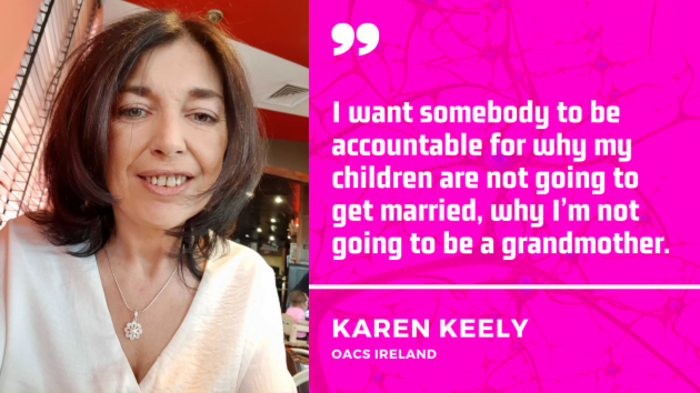 Quote by Karen Keely, OACS Ireland. I want somebody to be accountable for why my children are not going to get married, why I'm not going to be a grandmother.