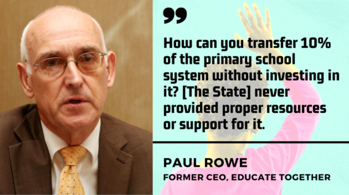 Paul Rowe, former CEO, Education Together - man with grey hair and glasses wearing a suit and tie - with quote - How can you transfer 10% of the primary school system without investing in it? The State never provided proper resources or support for it.