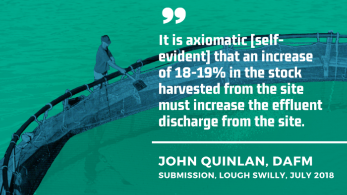 John Quinlan, DAFM submission, Lough Swilly, July 2018 - It is axiomatic self-evident that an increase of 18-19% in the stock harvested from the site must increase the effluent discharge from the site.