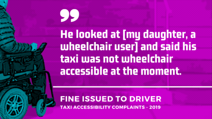 Background - Project design image of a wheelchair user approaching steps, signifying lack of accessibility. Foreground - Quote from a taxi accessibility complaint from 2019 which resulted in a fine being issued to the driver - He looked at my daughter, a wheelchair user and said his taxi was not wheelchair accessible at the moment.