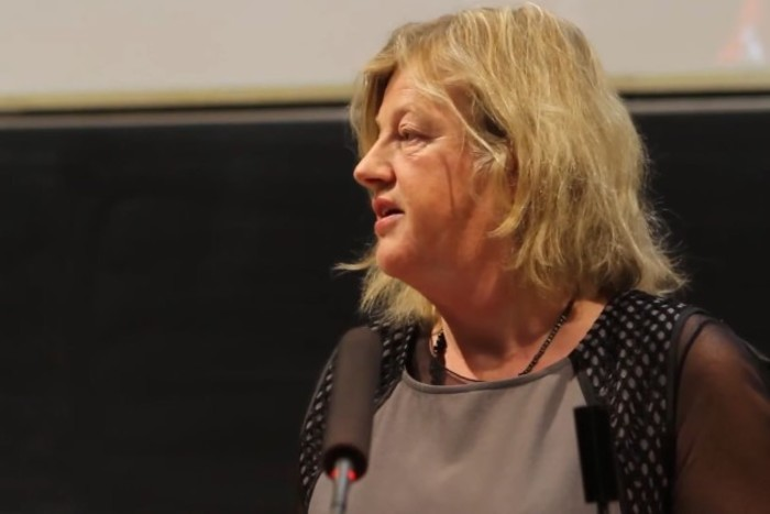 Dr Margaret Fitzgerald wearing a light grey top standing talking at a podium