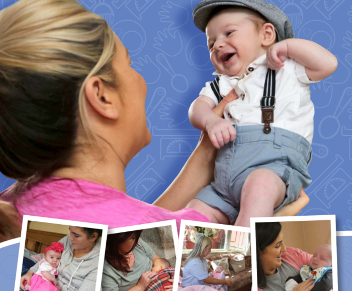 Cover the breastfeeding booked with a young infant wearing a flat cap smiling while being held by their mother. Small images depict mothers breastfeeding their babies.